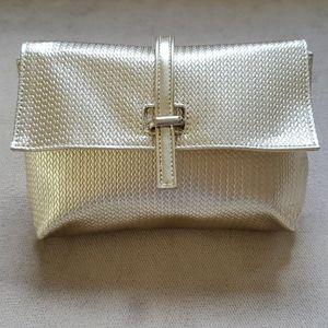 NWOT Metallic Light Gold Cosmetic Bag